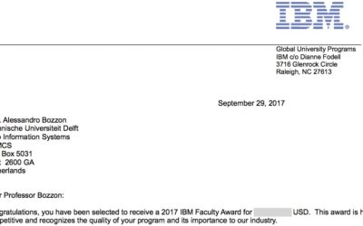 Alessandro Bozzon selected for IBM 2017 Faculty Award